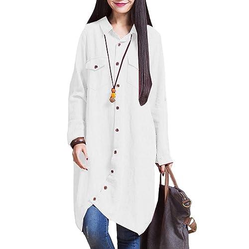 25a2ff1f74b9 Romacci Women Cotton Long Blouse Irregular Hem Buttons Loose Casual Vintage  Top Shirt Dress White