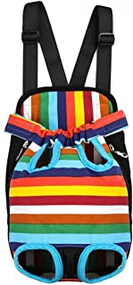 Ultrafun Portable Dog Front Carrier Backpack Legs Out & Breathable Travel Outdoor Bag for Pet Puppy Cat (L, Rainbow)