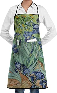 KDJGVM133 Bib Apron for Woman with 2 Pockets Beautiful Irises Printed Kitchen Aprons -Waterpoof, Unisex, Chef, Kitchen, Cafe, Baking, Gardening, Restaurant