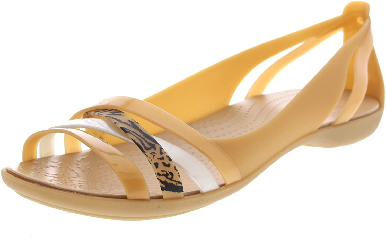 Crocs Damen Sandalen Isabella Grph Huarache 2 Flat Dark Gold Gold Gold Gold 205147276  c31c54
