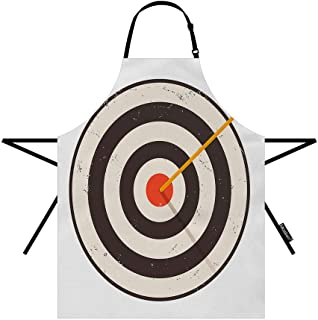 Moslion Arrow Apron Vintage Sport Game Arrows Target Bullseye with Striped Circles 27x31 Inch Kitchen Chef Waitress Cook Aprons Bib with Adjustable Neck for Women Men Girls