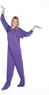Big Feet Pjs Purple Jersey Knit Adult Footed Pajamas No Drop Seat (M)
