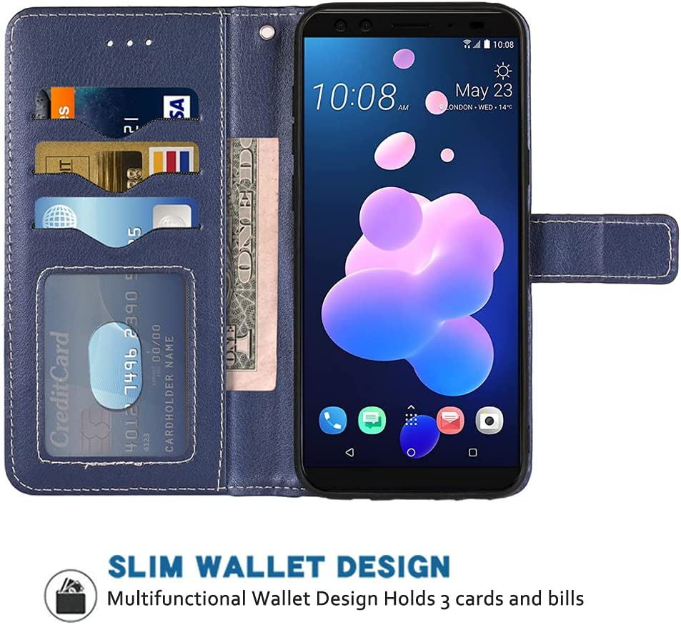 FDCWTSH Compatible with HTC U11 Wallet Case Wrist Strap Lanyard Leather Flip Cover Card Holder Stand Cell Accessories Folio Folio Purse Credit ID Slot Phone Cases for HTCU 11 2017 Women Men Blue