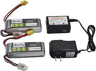 Blomiky 2 Pack XT60 Plug 11.1V 3S 2200mAh Lipo Battery and 1 Charger for RC Evader BX Car RC Truck RC Truggy RC Airplane UAV Drone FPV 11.1V 2200mAh XT60 2