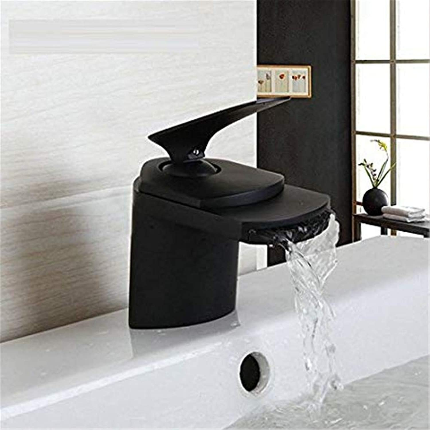 redOOY Taps Bathroom Faucet Black Orb Deck Mount Widespread Basin Sink Faucet Mixer Taps Water Taps Taps