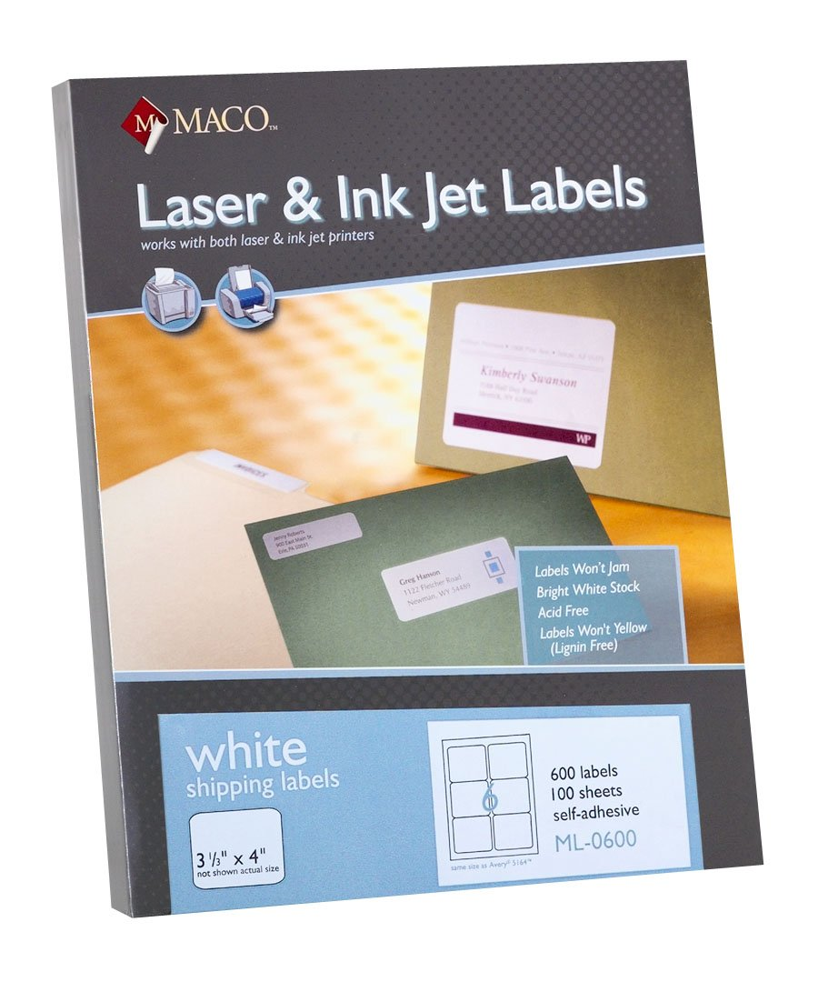 MACO Laser//Ink Jet White Shipping Labels 6 Per Sheet 1500 Per Box ML-0600B 3-1//3 x 4 Inches
