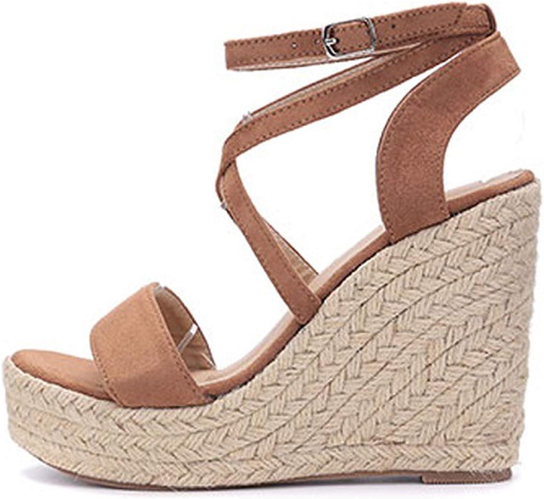 Ches Platform 4CM Women Sandals Buckle Strap Rome Wedges Sexy Peep Toe Fashion Ladies shoes Black Brown Sandals Size 35-40