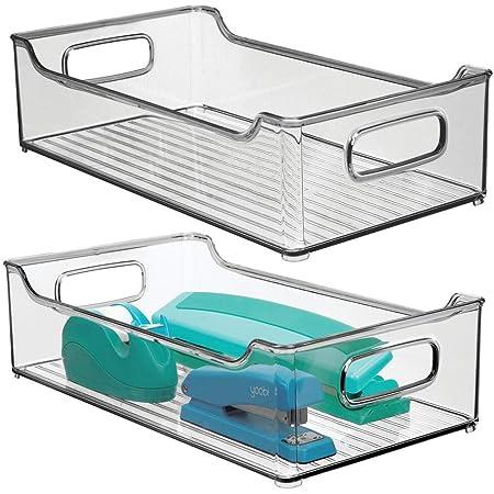 mDesign boîte de rangement en plastique avec poignées intégrées (lot de 2) – boite plastique pour le rangement des ustensiles de cuisine, de la salle de bain ou du bureau – gris fumé
