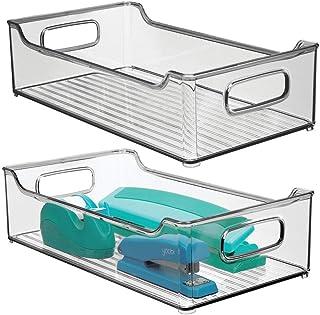 mDesign boîte de rangement en plastique avec poignées intégrées (lot de 2) – boite plastique pour le rangement des ustensi...