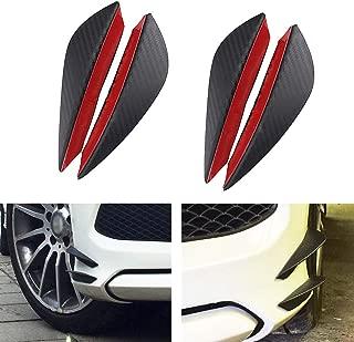 Car Canards Spoiler Front Bumper Lip Splitters Fin Air Knife Auto Body Kit Valence Chin Universal Fit Car Tunning Accessory 4pcs/set Black Carbon Fiber