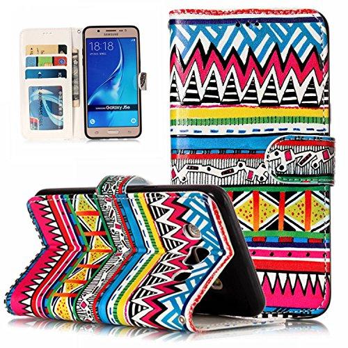 WindTeco Funda Galaxy J5 2016, 3D Patrón Carcasa Cartera Flip de Piel PU Libro Billetera con Función de Soporte y Ranuras de Tarjeta para Samsung Galaxy J5 2016 - Patrón Tribal