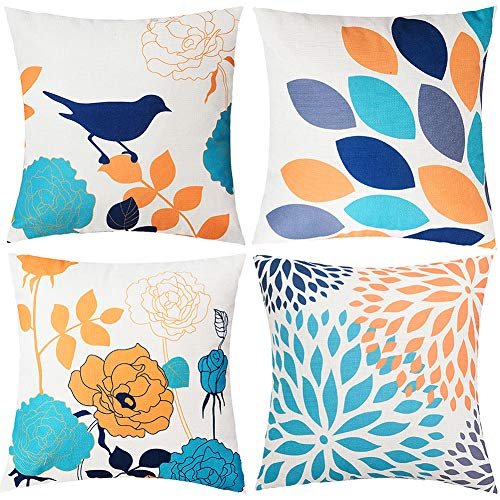TongXi Floral Cartoon Shadow Bird Pattern Decorative Throw Pillow Case Cushion Covers 18x18 inches Pack of 4