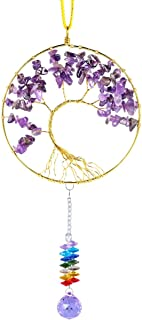 rockcloud Hanging Tree of Life Crystal Point Prism Glass Holiday Decorations Wall Decor Christmas Tree Ornaments Suncatcher Wedding Souvenir Home Decor 4 inches, Amethyst