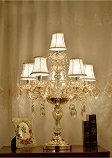 @Uncle Sam LI Crystal Table Lamp, Luxury High-Grade Gold Table Lamp with The Crystal Pendant and Fabric Lampshade for in The Living Room Bedroom Bedside Home Decorative Lights (Color : 6 Lights)