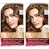 L'Oreal Paris Excellence Creme Permanent Hair Color, 5G Medium Golden Brown, 100% Gray Coverage Hair Dye, Pack of 2