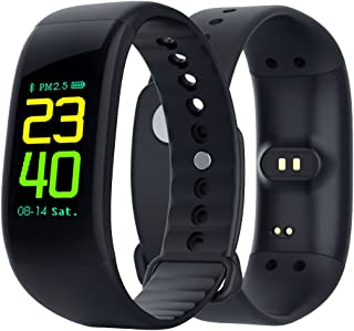 Sport Smart Watch, FitnessTracker Waterproof Smart Bracelet with Heart Rate Monitor, OLED Color Screen Activity Tracker, Sport Watches for Women Men Kids, Compatible with Android and iOS (Black)