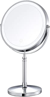 """AMZTOLIFE 8"""" Lighted Makeup Mirror, 10X Makeup Mirror with Lights, Double Sided Dimmable Magnifying Mirror with Light, Rec..."""