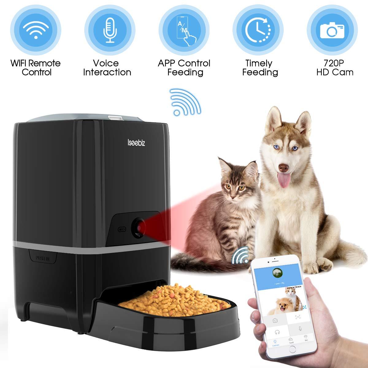 Iseebiz Comedero Automatico Perro de 6L con Cámara Comederos Automaticos Gatos WiFi/Controla por App /6 Dosis de Comida por Día: Amazon.es: Productos para mascotas