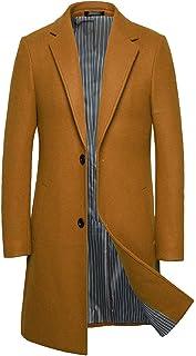 JJHAEVDY Mens Mid Long Wool Blend Pea Coat Single-Breasted Lapel Overcoat Colorful Stripes Winter Trench Coat Jacket
