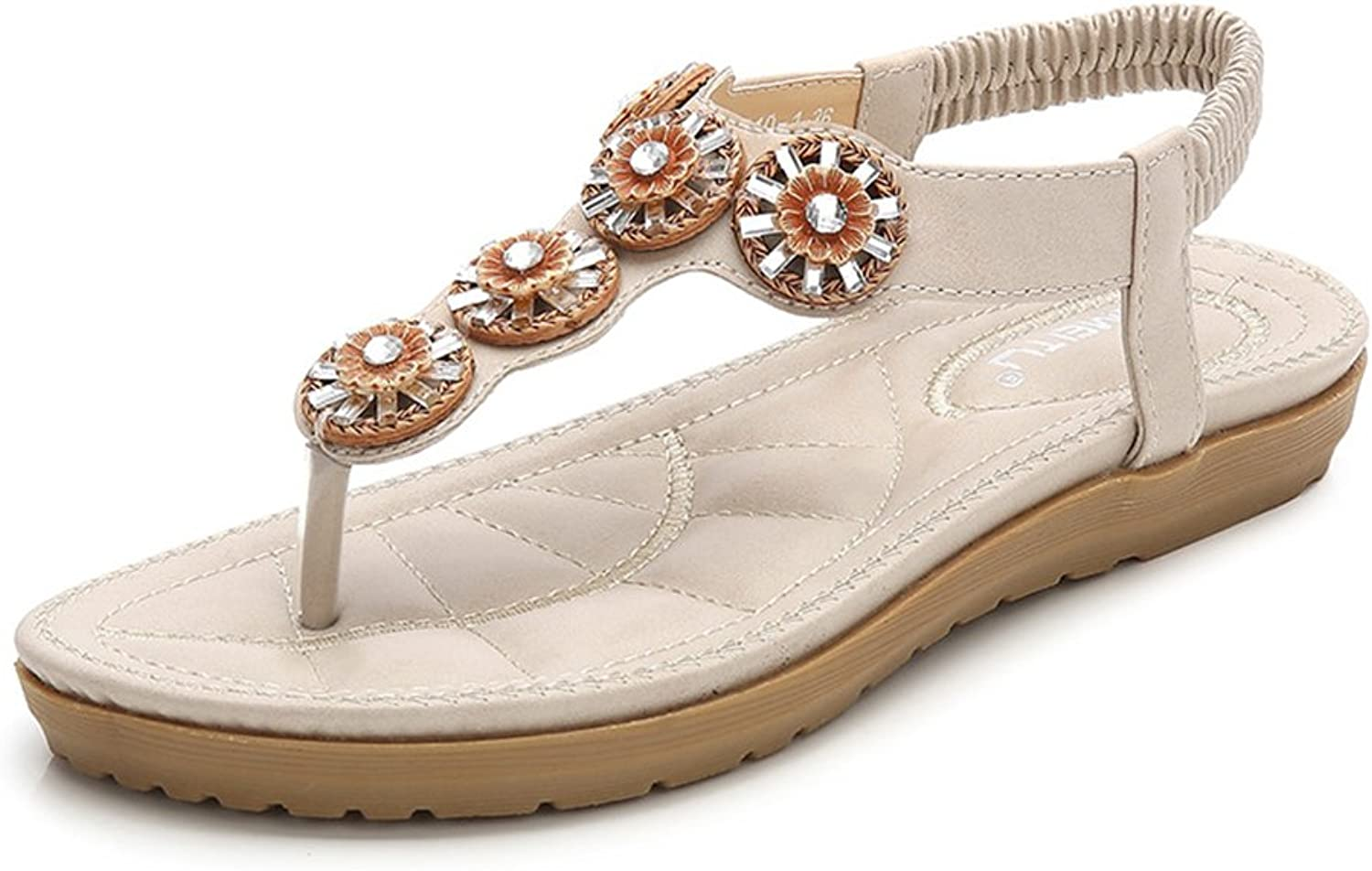 Baviue Women's Jeweled Fashion Flowers Leather Thong Sandals