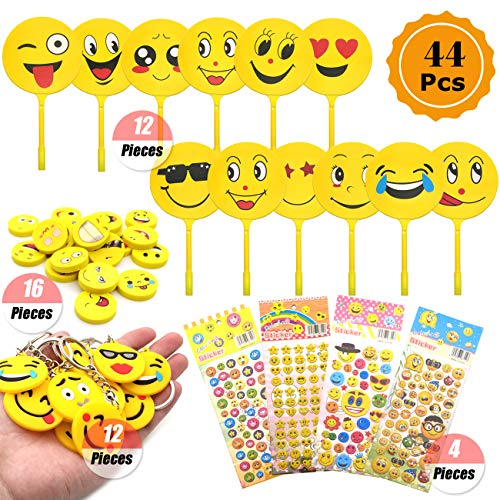 Emoji Kids Verjaardagsfeestje Accessoires Voor Kinderen, Emoji Smiley Giveaways Emoji Sleutelhangers Emoji Tatoeages Stickers Voor Kinderen Verjaardagsfeestje Giveaways