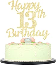 LVEUD 13th Birthday Cake Topper for Happy Birthday, 13 Golden Flash 13th Cake Topper,Happy Birthday Cake Topper Cake Ornament (13th)