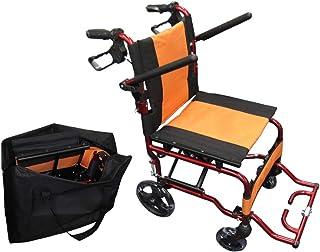 【軽い・丈夫・コンパクト】 Nice Way4 軽量 折りたたみ式 車椅子 【座面幅約40cm】【介助ブレーキ付き】【アルミ製】【ノーパンクタイヤ】【頑丈】(オレンジ)
