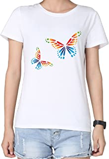 2016 100 Cotton Design T Shirt Butterfly Funny Ts Lady Short Sleeves