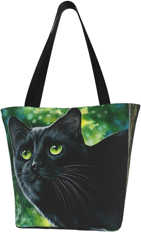 Black Cat Green Eye Tree Gifts Themed Printed Women Canvas Handbag Zipper Shoulder Bag Work Booksbag Tote Purse Leisure Hobo Bag For Shopping