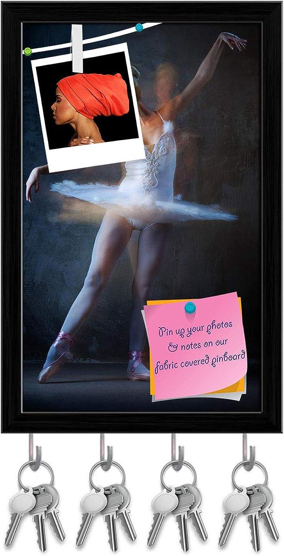 Artzfolio Ballet Dancer in Motion D4 Key Holder Hooks   Notice Pin Board   Black Frame 10 X 15.7Inch