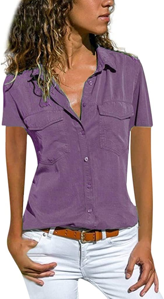 Women's Fashion Button-Down Polo Shirts Casual V-Neck Short Sleeve Casual Work Plain Tees Shirts Tops with Pockets