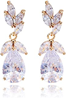 Women's Cubic Zirconia Bridal Earring - Elegant Gold Plated Teardrop Cluster Floral Leaf CZ Crystal Rhinestone Wedding Earring for Bride