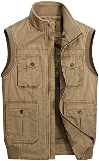 XXT Vest Multi-Size Outdoor Casual Large Size Multi-Pocket Jacket Practicality (Color : Khaki, Size : XL)