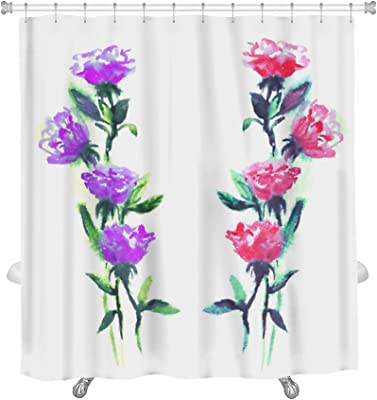 """Gear New Watercolor Roses Shower Curtain, 74"""" x 71"""""""