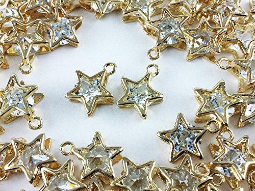 ノーブランド品 チャーム 50個 スター アクセサリーパーツ 星 ネックレス ピアス イヤリング 素材 (AP0256)