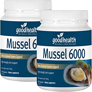 Goodhealth Mussel 6000mg 300 Capsules New Zealand Green Lipped Mussel High strength joint support (Pack of 2)