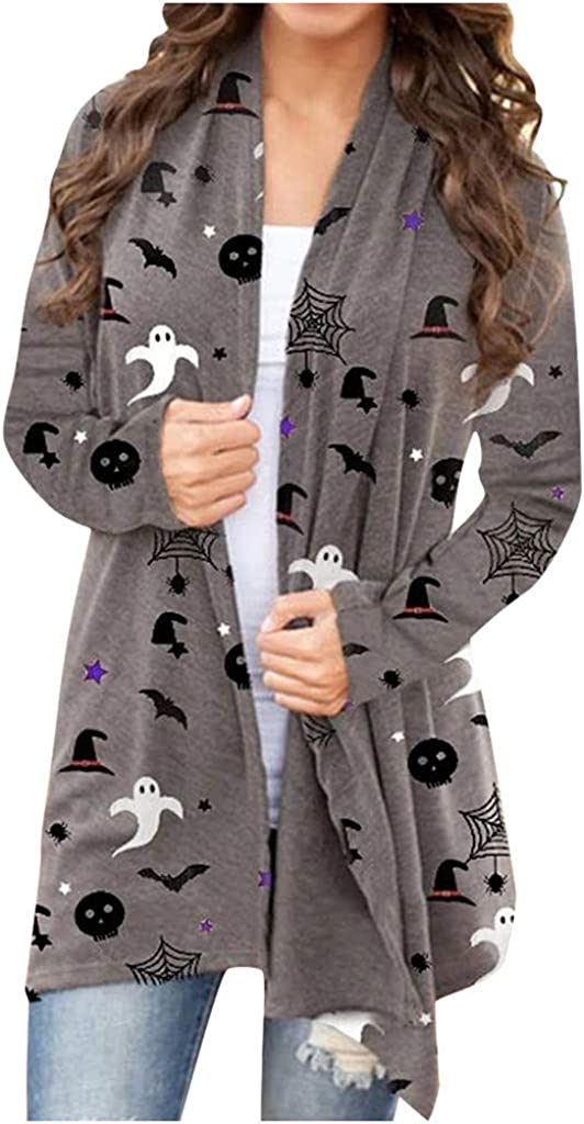 Halloween Long Sleeve Tops for Women Autumn Vintage Sweater Cute Animal Printed Coat Open Front Light Cardigan