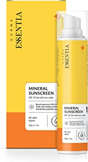 Derma Essentia Mineral Sunscreen SPF-Gel with 100% Mineral Filter Formulation for protection against UVA & UVB rays   Trip...