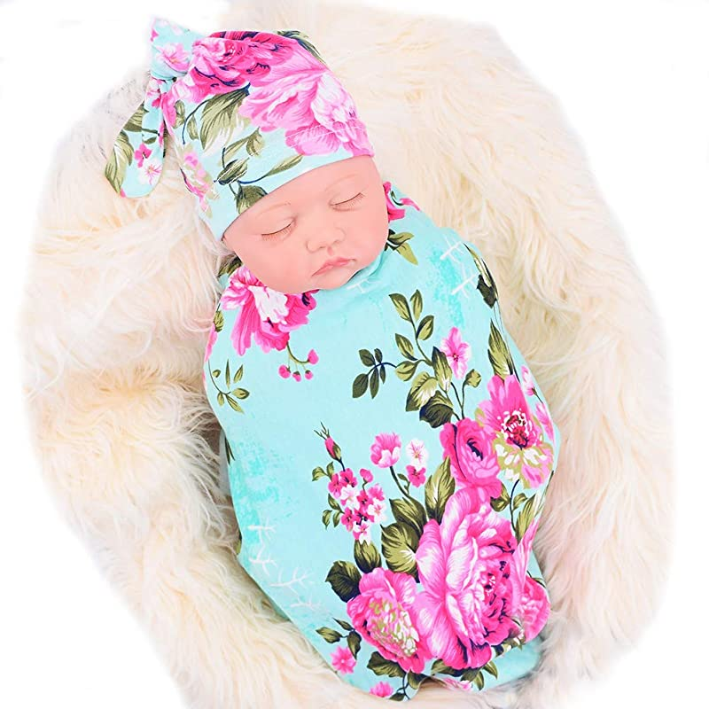 Galabloomer Newborn Receiving Blanket Hat Set Flower Print Baby Swaddle Receiving Blankets