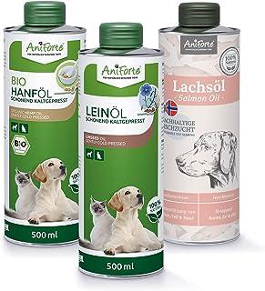 AniForte BARF Oil Set 3 con 500ml cada uno de aceite de salmón, aceite de linaza y aceite de cáñamo - producto natural par...