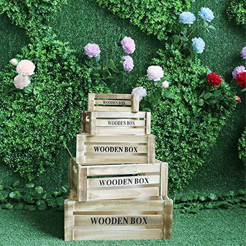LiChaoWen Maleta decorativa para boda, decoración de madera, 5 piezas (color marrón, tamaño: 5 unidades)