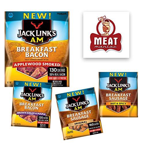 Jack Link's AM Breakfast Sausage & Jack Links AM Bacon Jerky Sampler Gift Pack (4pk)