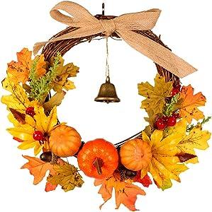 Wankd Automne Feuille De Citrouille Guirlande De Noël Artificielle Couronne Porte Avant Décoration Thanksgiving Halloween Guirlande Décorative