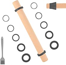 """Sapid 16"""" Wooden Rolling Pin with Adjustable Extra Thickness Rings, Nonstick Dough Roller, Easy Clean Beech Wood Pizza Rol..."""
