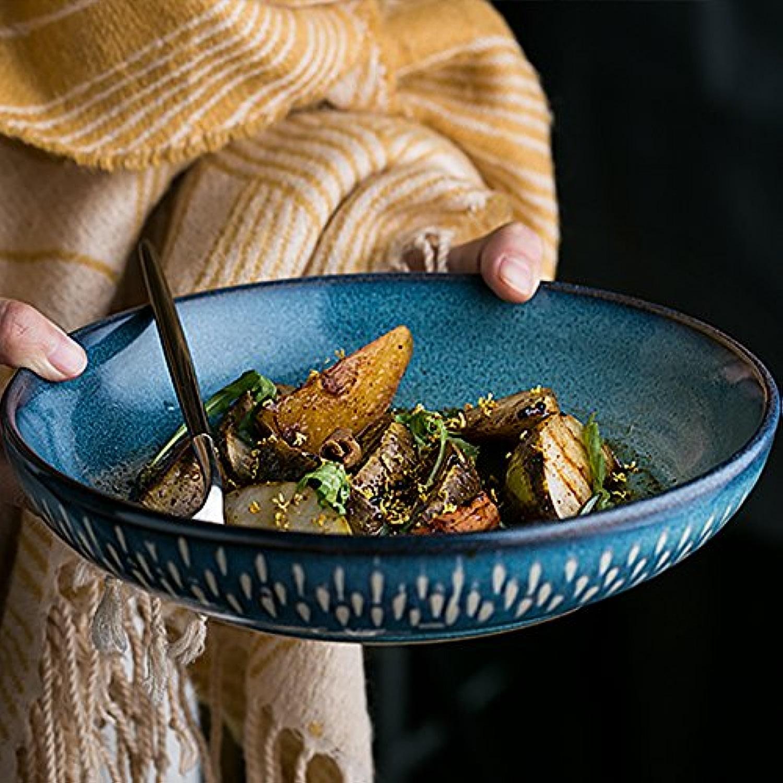 QINCHEH Vaisselle bol à soupe bol en céramique bol de mélange peu profond bouche bassin grand pot de soupe plat ménage