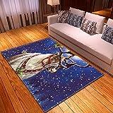 DRTWE Alfombra,Soft Velvet Area Rugs Elk Snowflake Impreso Anti-Skid Fluffy Shaggy Runners Piso Mat Bedside Sofá Carpet para Sala De Estar Dormitorio Home Decor,40 * 60Cm