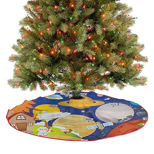Homesonne Alfombrilla para árbol de Navidad, diseño de planeta y astronauta en el espacio exterior, Aventura galáctica, decoración de Navidad, acogedora y festiva, sin ser cursoso, multicolor, 76,2 cm