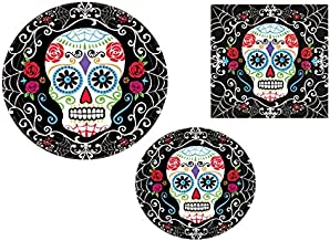 Day of the Dead Halloween Party Pack! 18 Dinner Plates, 18 Dessert Plates & 36 Lunch Napkins