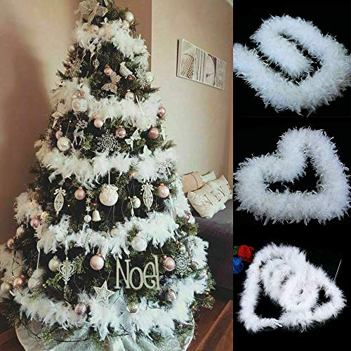 RASHION 5 x 2 m Weihnachtsbaum-Girlande mit weißen Federn, Weihnachtsband, Boa-Streifen für Weihnachtsbaum, Party-Girlande