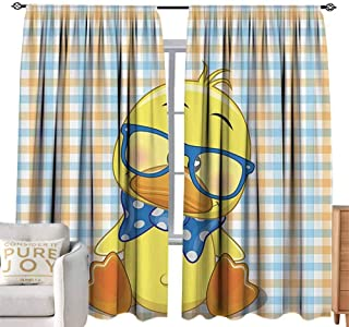 Andrea Sam Long Curtains Cartoon Decor,Hipster Boho Baby Duck with Dotted Bow Cool Free Spirit Smart Geese Artsy Decor,Orange Yellow Blue W84 x L108 inch,Blackout Curtains 2 Panels Set Room